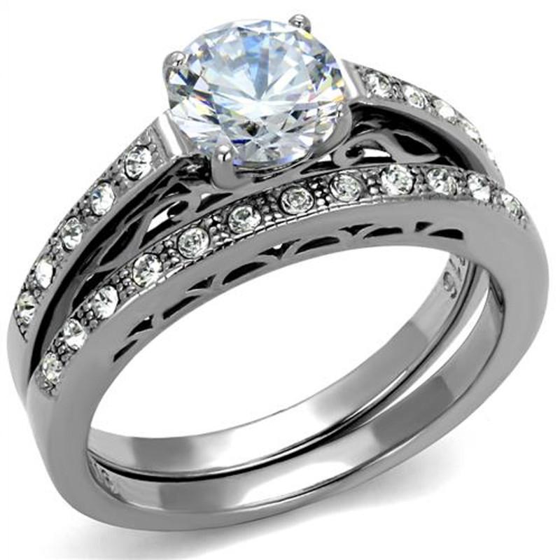 ST2477-ARTI4317 His & Her 3pc Stainless Steel 1.39 Ct Cz Bridal Set & Mens Titanium Wedding Band