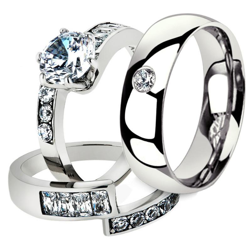 His & Her 3 Pc Stainless Steel 2.50 Ct Cz Bridal Set & Men Zirconia Wedding Band