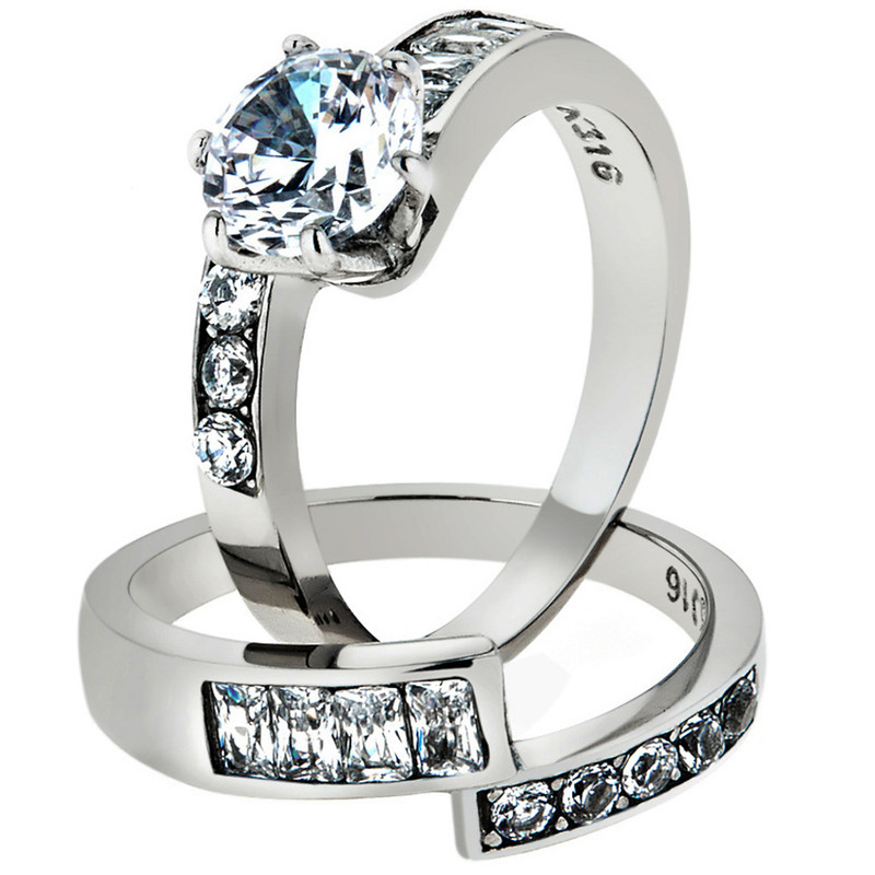 ST2616-AR011 His & Her 3 Pc Stainless Steel 2.50 Ct Cz Bridal Set & Men Zirconia Wedding Band
