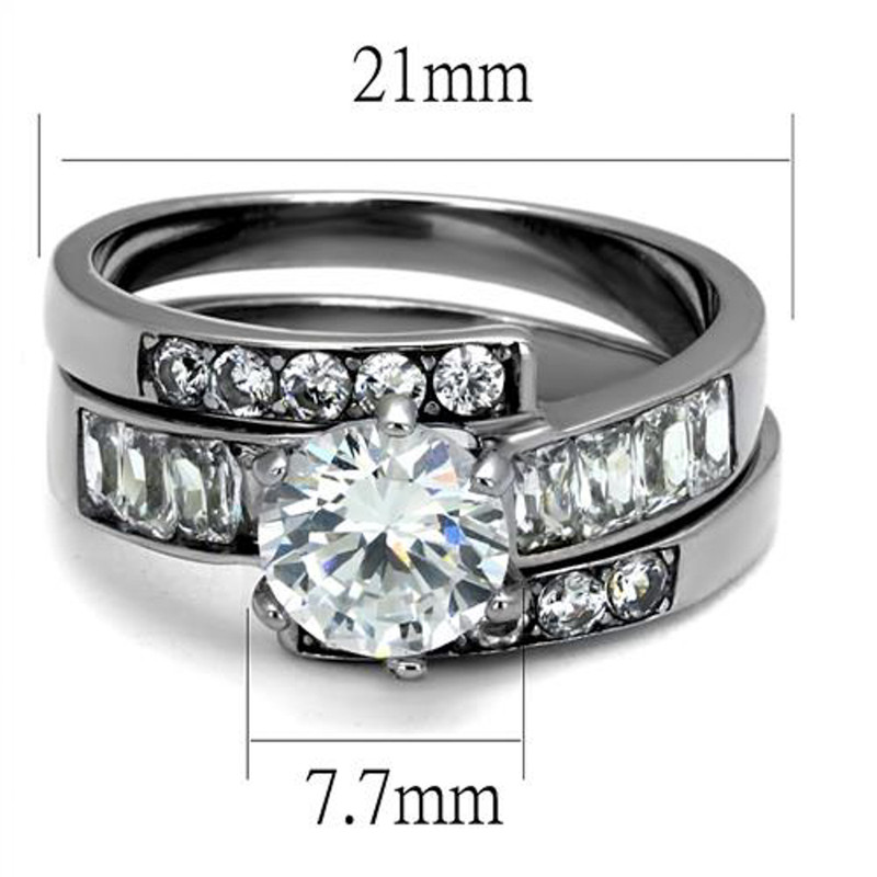 ST2616-ARM4587 His & Her Stainless Steel 2.50 Ct Cz Bridal Ring Set & Men Zirconia Wedding Band