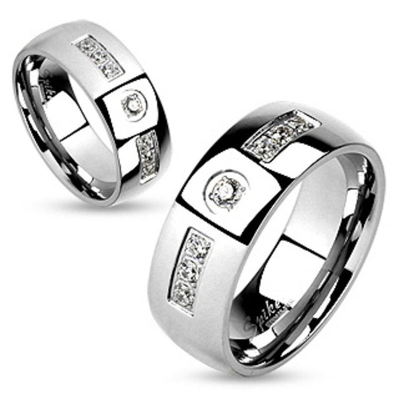 ST2915-ARM4587 His & Her Stainless Steel 2.07 Ct Cz Bridal Ring Set & Men Zirconia Wedding Band