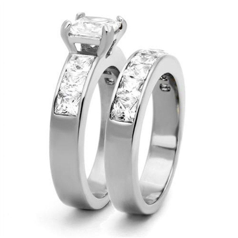 ST61206-ARTI4317 His & Her 3pc Stainless Steel 3.75 Ct Cz Bridal Set & Mens Titanium Wedding Band