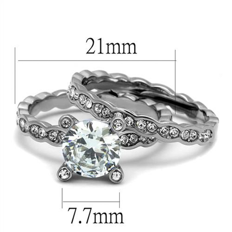 ST2659-ARTI4317 His & Her 3pc Stainless Steel 2.25 Ct Cz Bridal Set & Mens Titanium Wedding Band