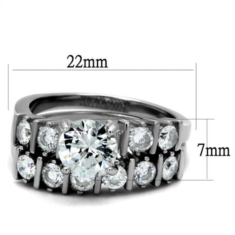 ST2869-AR011 His & Her 3 Pc Stainless Steel 2.38 Ct Cz Bridal Set & Men Zirconia Wedding Band