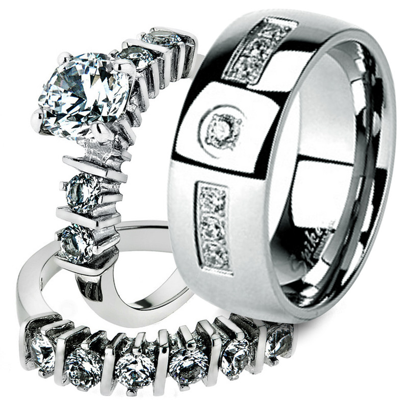 His & Her Stainless Steel 2.38 Ct Cz Bridal Ring Set & Men Zirconia Wedding Band
