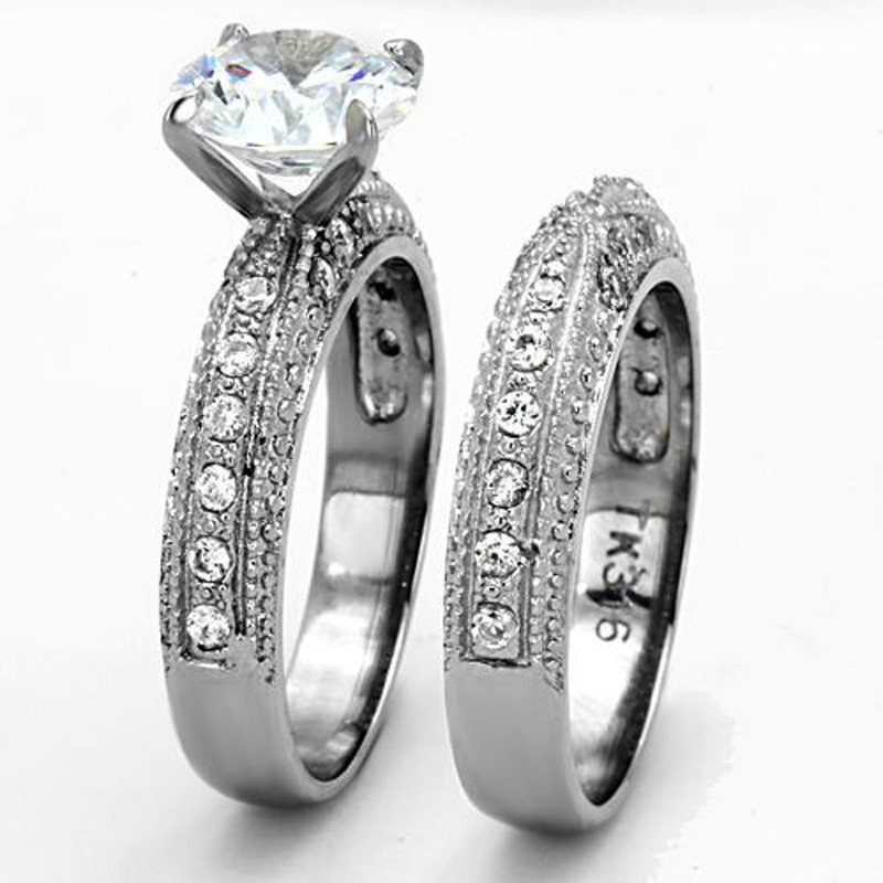 ST1228-AR001 His & Hers Stainless Steel Vintage Bridal Ring Set & Men's Classic Wedding Band