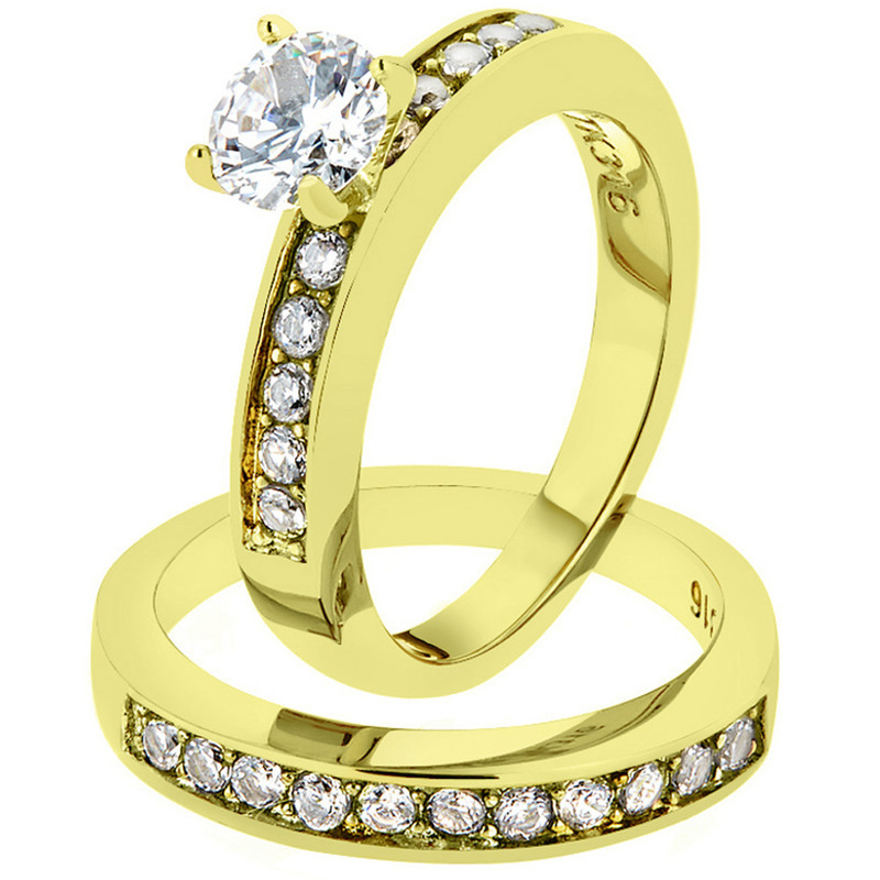 ST8X003-AR002 His & Her 1.17Ct Stainless Steel Gold Plated Bridal Ring Set & Mens Classic Band