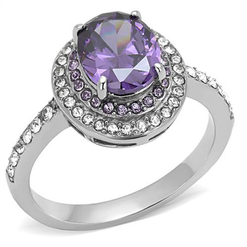 2.2 Ct Oval Cut Amethyst Color Cz Stainless Steel Halo Engagement Ring Size 5-10