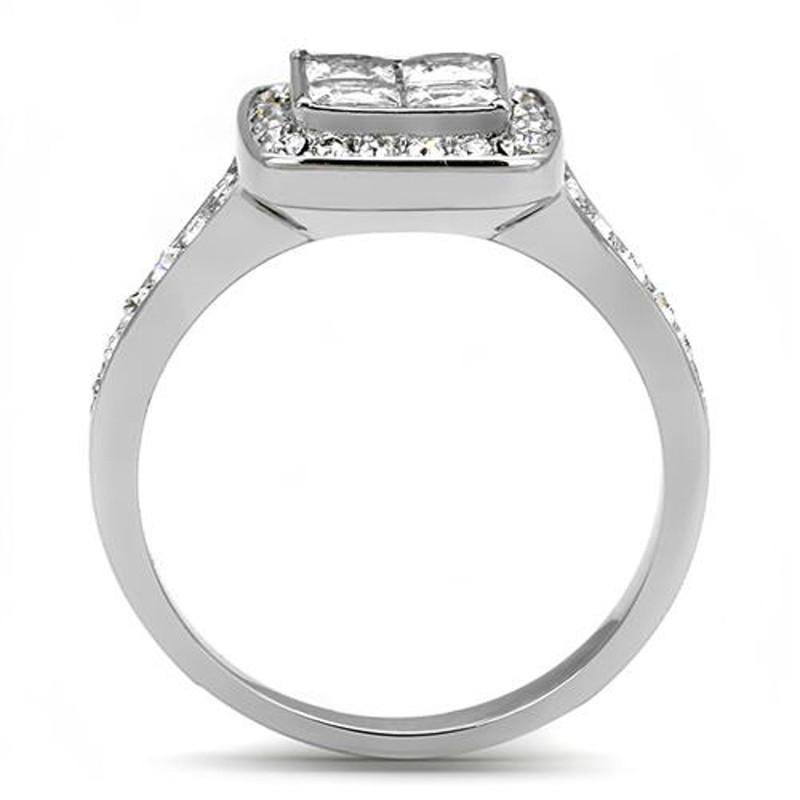 ARTK3137 Women's 1.06 Ct Princess & Round Cut CZ Stainless Steel Engagement Ring Sz 5-10