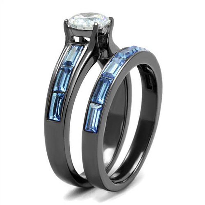ARTK2845 2.85Ct Clear & Sea Blue Cz Gray Stainless Steel Wedding Ring Set Women's Sz 5-10