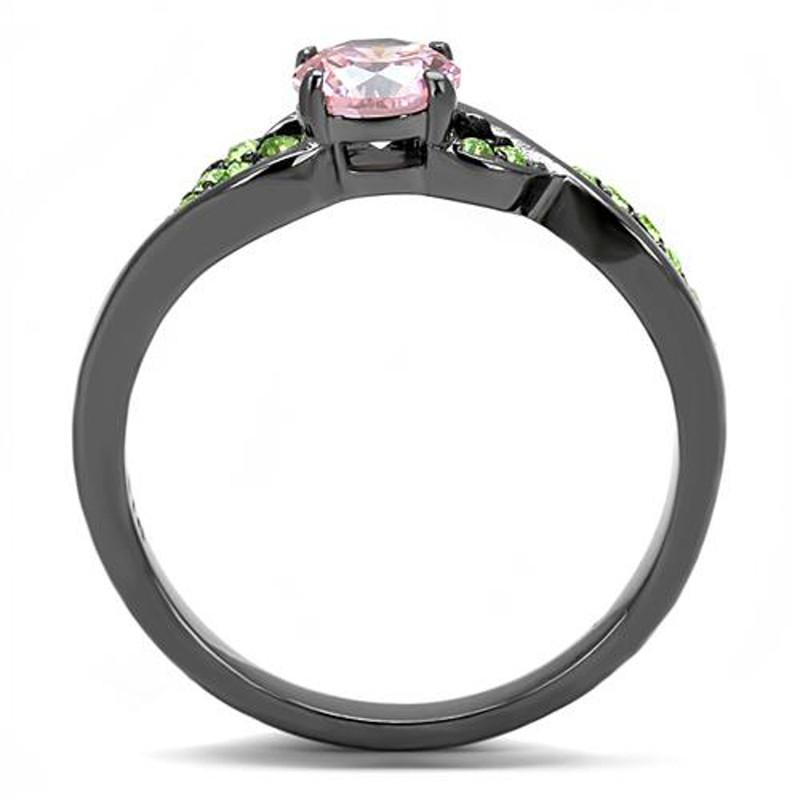 ARTK3132 Rose & Green Round Cut Zirconia Gray Stainless Steel Fashion Ring Womens Sz 5-10