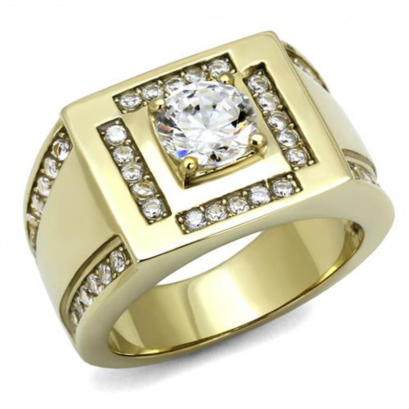 Men's 1.8 Ct Round Cut Cz 14K Gold Plated Stainless Steel Fashion Ring Size 8-13