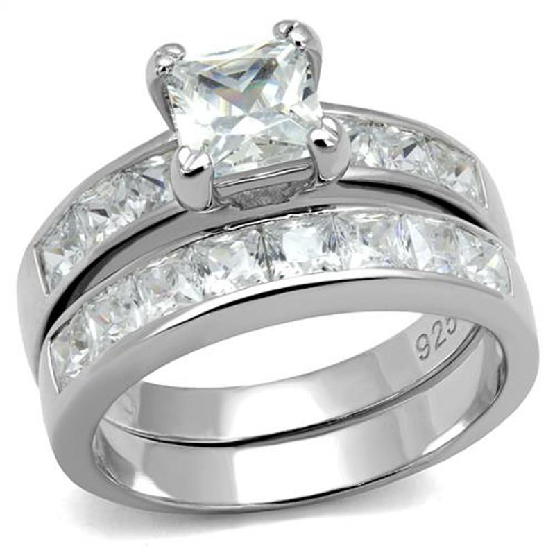 ARTS520 Princess Cut Cubic Zircoina .925 Sterling Silver Rhodium Plated Wedding Ring Set