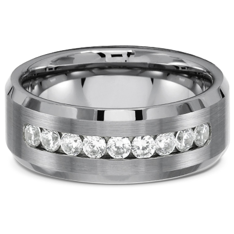 ST1318-ARCJTI486 His & Her 3pc Stainless Steel 3.15 Ct Cz Bridal Set & Mens Titanium Wedding Band