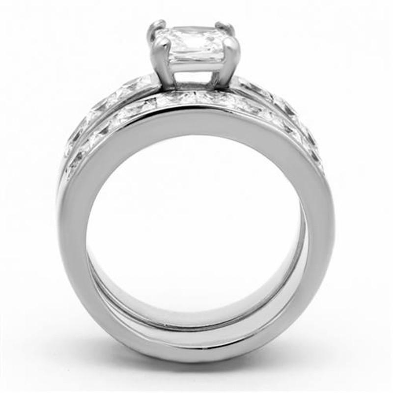 ARTK61206 Stainless Steel Wedding Ring Set 3.75 Ct Princess Cut AAA CZ  Women's Size 5-11