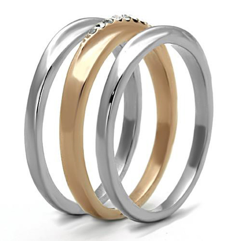 ARTK1340 Stainless Steel Rose Gold Plated 3 Piece Wedding Ring Set Women's Size 5-10