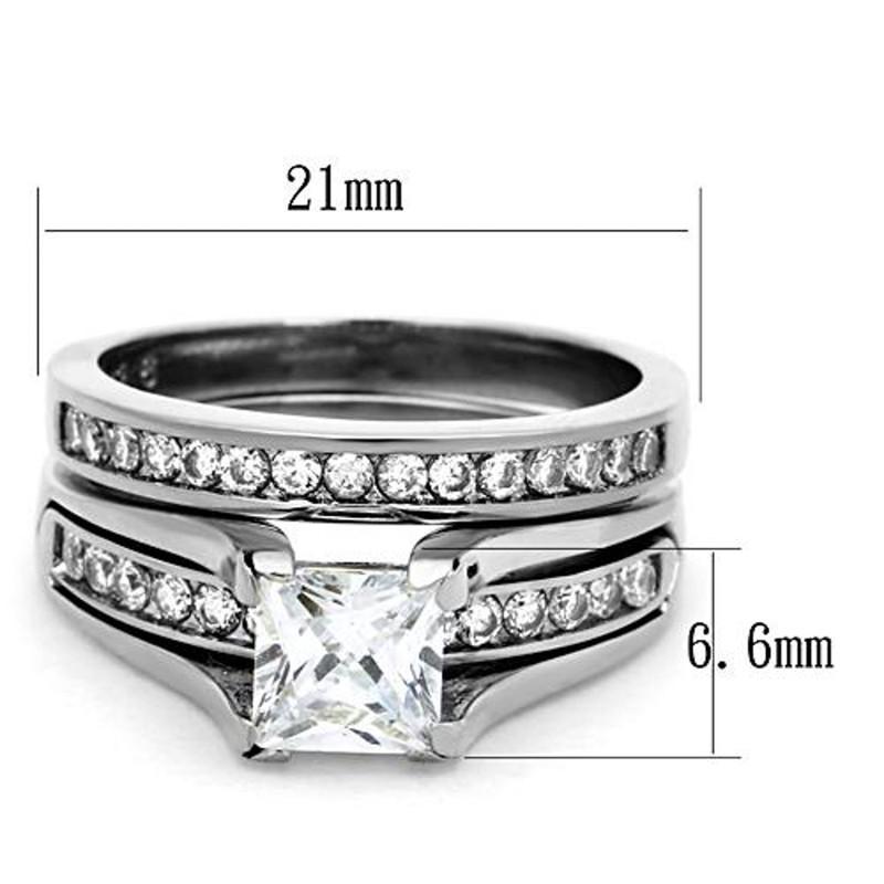 ARTK0W383 Stainless Steel 2.10 Ct Princess Cut CZ Wedding Ring Set Women's Sz 5-11