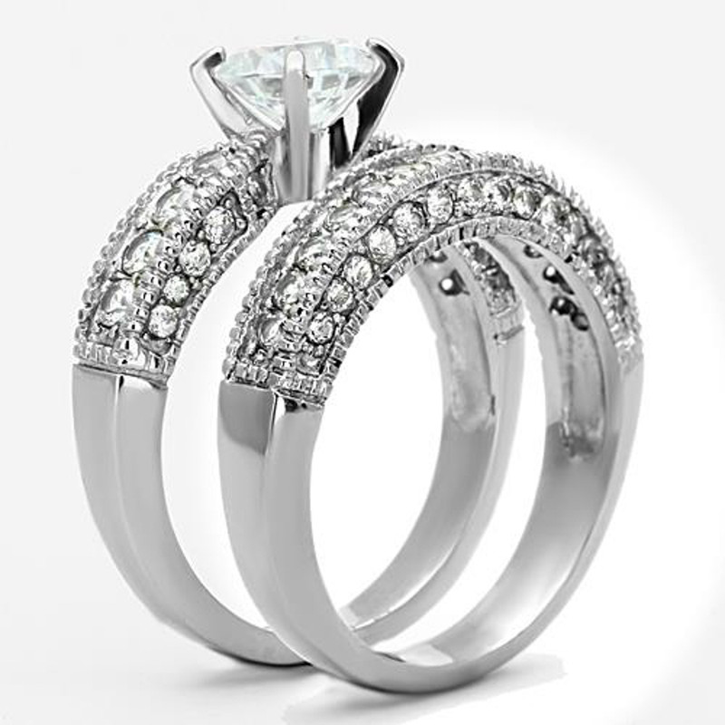 ARTK1318 Stainless Steel 316l, 3.15 Ct Round Zirconia Wedding Ring Set Women's Size 5-10