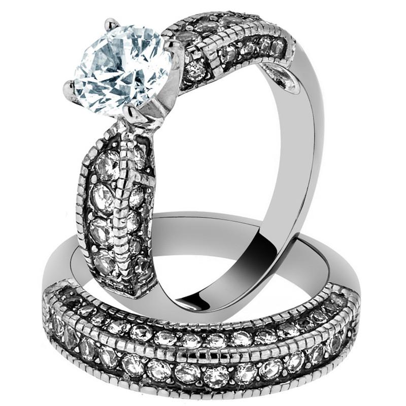 3.15 CT ROUND ZIRCONIA STAINLESS STEEL 316L WEDDING RING SET WOMEN'S SIZE 5-10