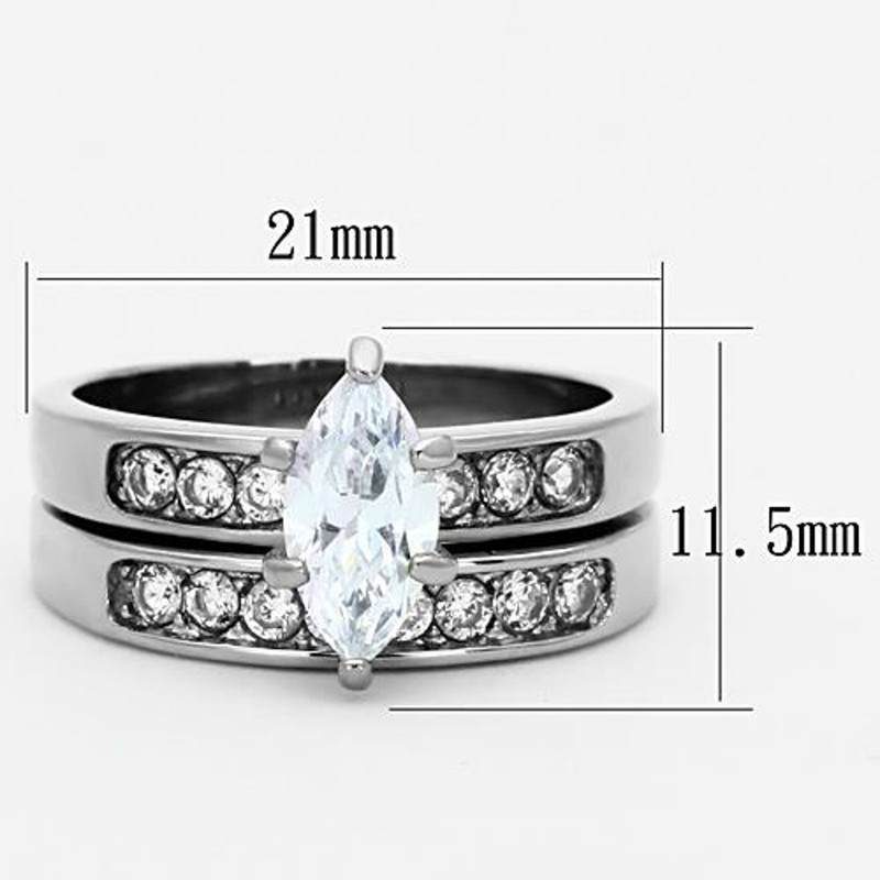 ARTK1319 Stainless Steel 316l 1.65 Ct Marquise Cut Cubic Zirconia Wedding Ring Set Sz 5-10