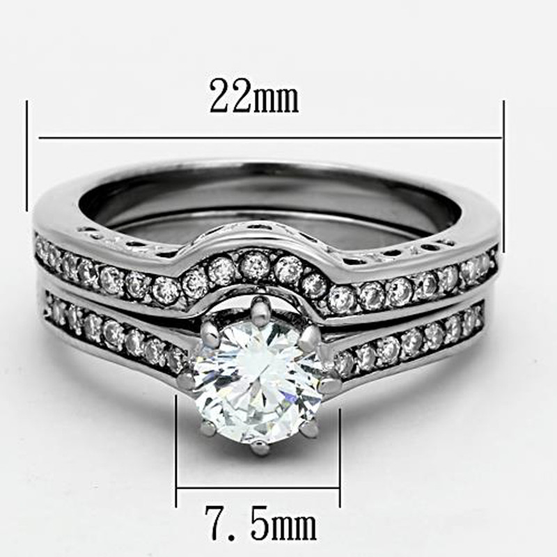 ARTK1330 Stainless Steel 316l 1.85 Ct Cubic Zirconia Wedding Ring Set Women's Size 5-10