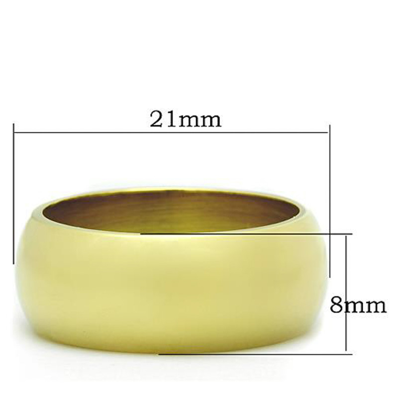 ARTK1391 Stainless Steel 316, 14k Gold Ion Plated 8mm Wide Wedding Band Womens Sizes 5-10