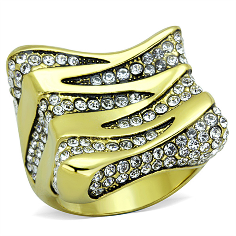 1.5 CT TOP GRADE CRYSTAL 14K GOLD PLATED STAINLESS STEEL COCKTAIL RING SZ 5-10