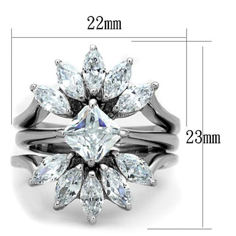 ARTK1756 Stainless Steel 3.74 Ct Zirconia 3 Piece Engagement Wedding Ring Set Size 5-10