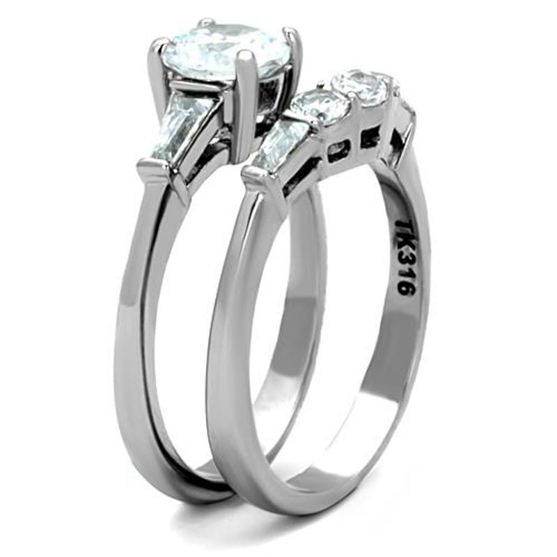 ARTK1W001 Stainless Steel 1.95 Ct Round Cut AAA CZ Wedding Ring Set Women's Size 5-10