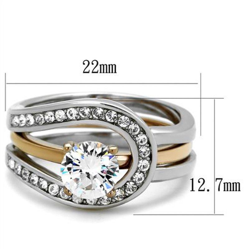 ARTK2032  Stainless Steel 1 Ct Round Cut Two Toned 2 Piece Wedding Ring Set Women's Sz 5-10