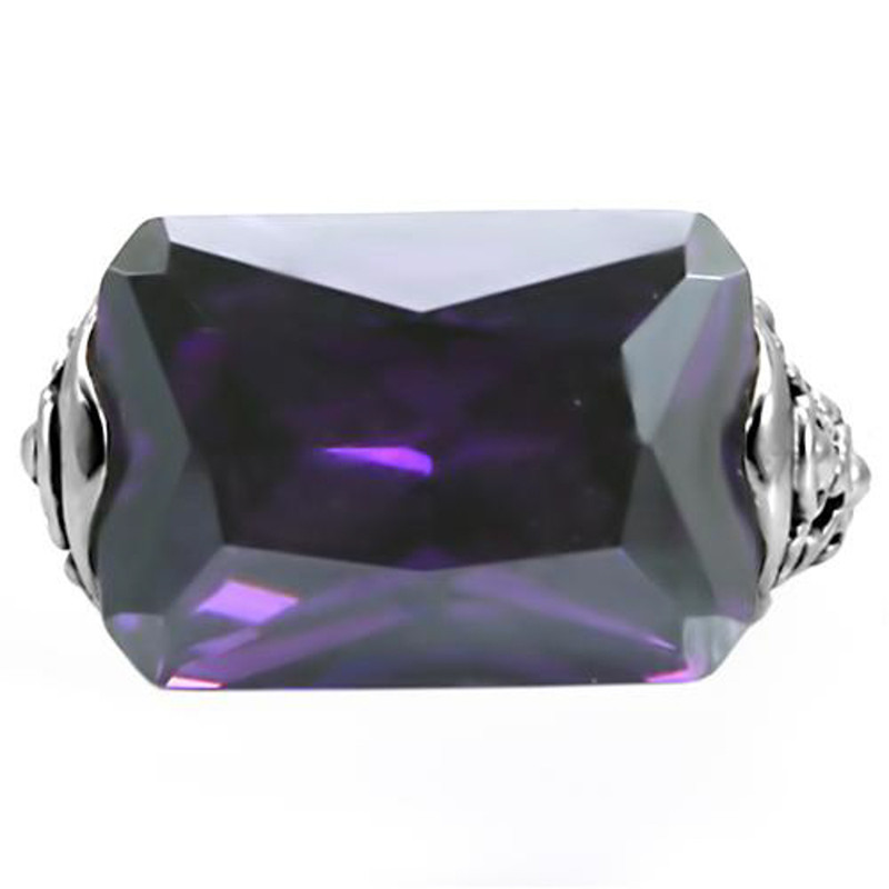 ARTK015 Stainless Steel 28 Ct Emerald Cut Amethyst CZ Antique Celtic Style Ring Sz 5-10
