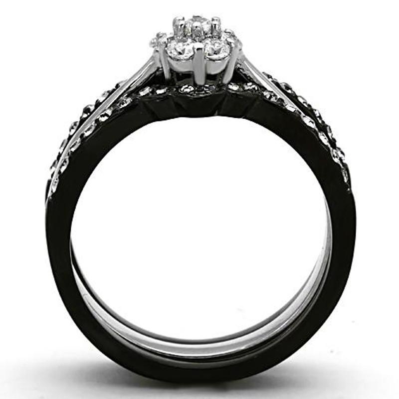 ARTK1345 Stainless Steel 1.85 Ct Round Cut Cz Black Wedding Ring Set Women's Size 5-10