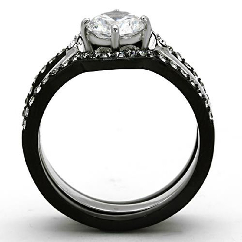 ARTK1346 Stainless Steel 1.90 Ct Round Cut CZ Black Wedding Ring Set Women's Size 5-10