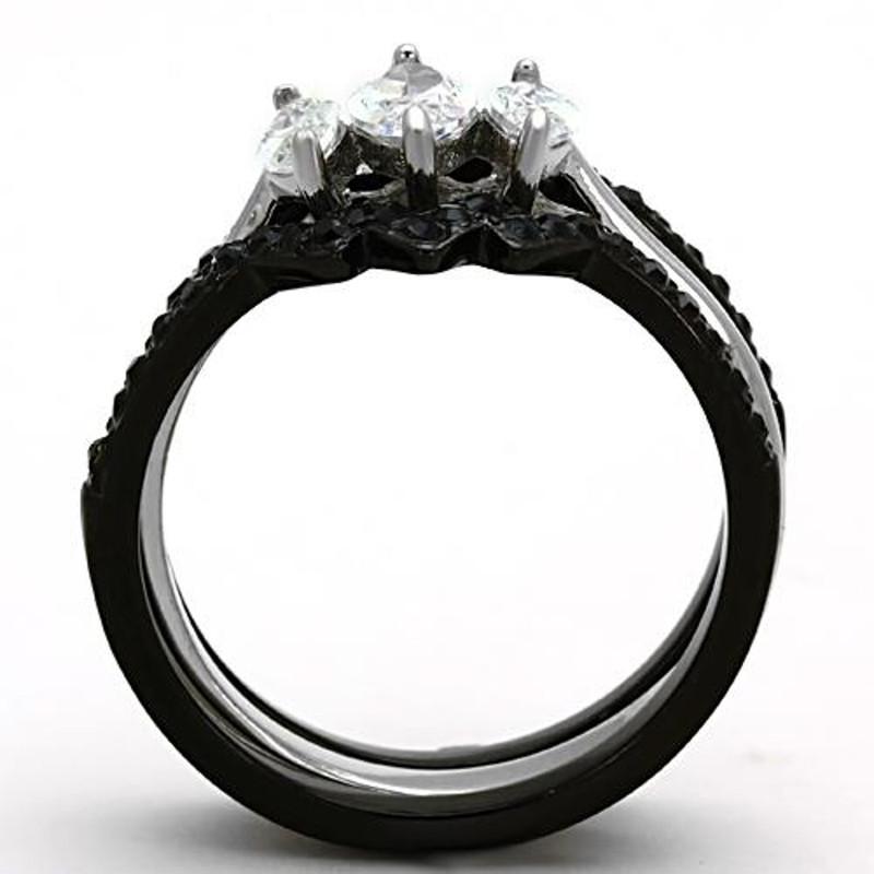 ARTK1347 Stainless Steel 2.25 Ct Marquise Cut CZ Black Wedding Ring Set Women's Size 5-10