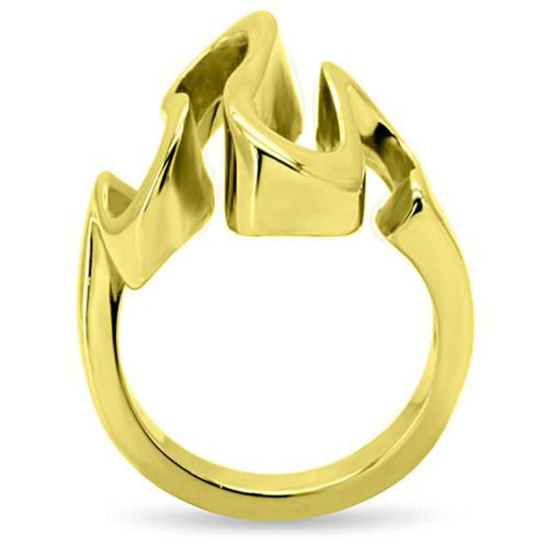 ARTK152G Stainless Steel 316 14k Gold Plated Wave Cocktail Fashion Ring Women's Size 5-10