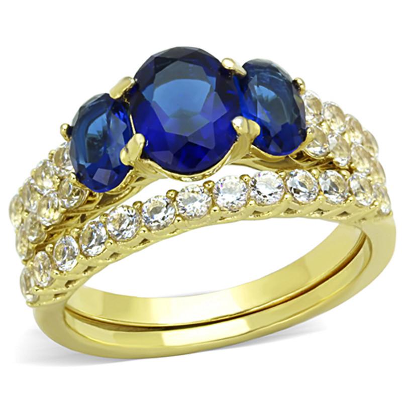 Women's Oval Cut Blue Montana AAA CZ 14k Gold Plated Wedding Ring Set Size 5-10
