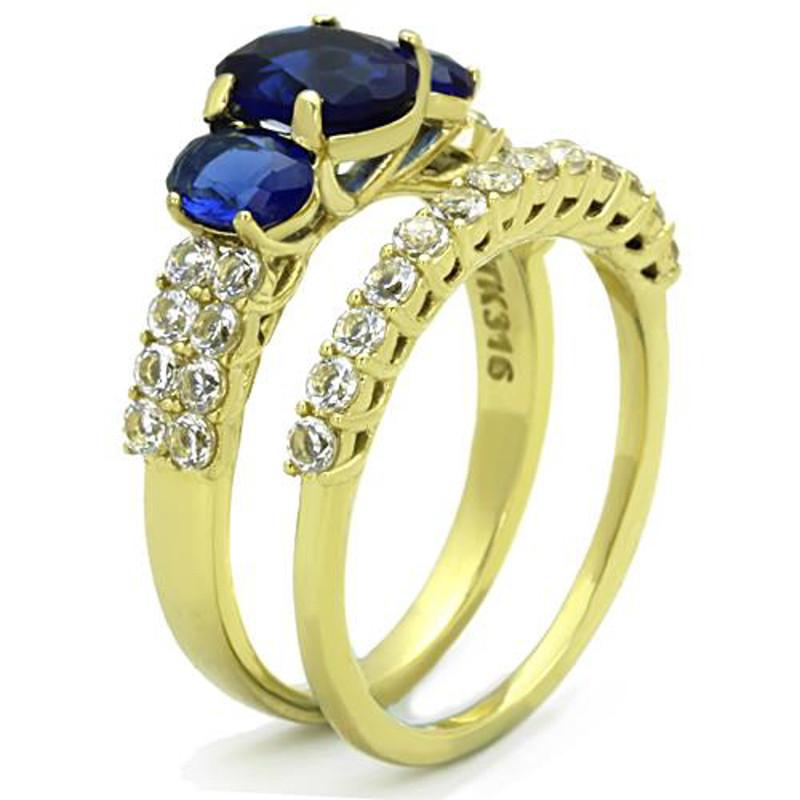 ARTK1720 Women's Oval Cut Blue Montana AAA CZ 14k Gold Plated Wedding Ring Set Size 5-10