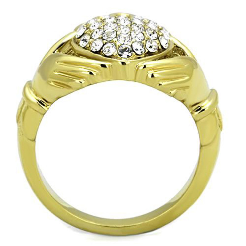 ARTK1724 Stainless Steel 1.02 Ct Crystal 14K Gold Plated Irish Claddagh Ring Women Sz 5-10