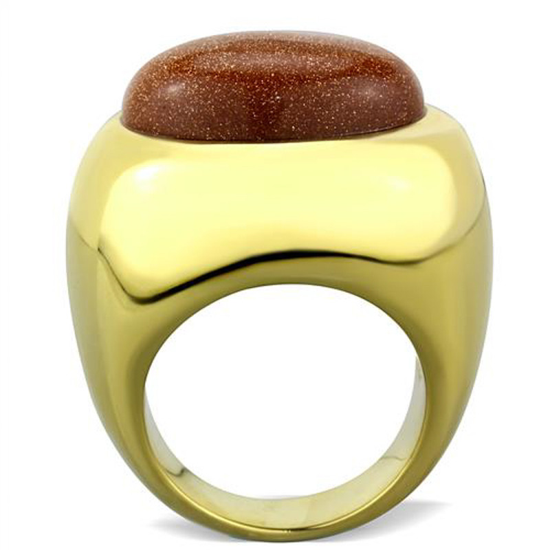 ARTK1781 Stainless Steel 14k Gold Ip Synthetic Twinkling Cocktail Fashion Ring Size 5-10