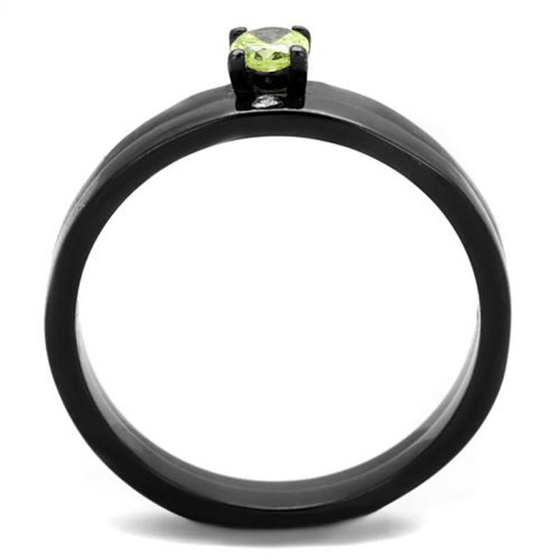 ARTK2015 Stainless Steel Black Ion Plated Apple Green Cz Wedding Ring Set Women's Sz 5-10
