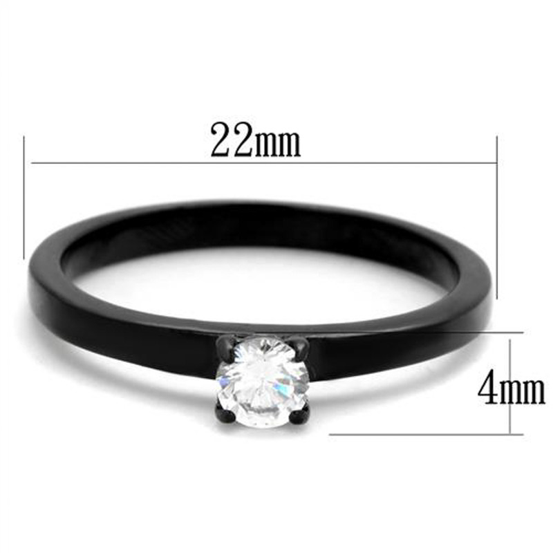 ARTK2016 Stainless Steel .25 Ct Round Cut AAA CZ Black Engagement Ring Women's Size 5-10