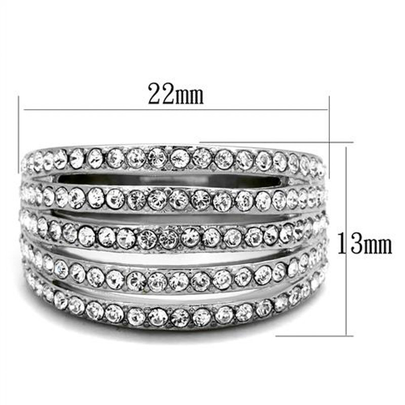 ARTK2029 Stainless Steel 2.95 Ct Round Cut Crystal Wide Band Fashion Ring Women's Size 5-10
