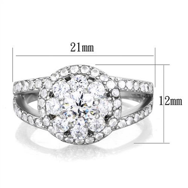 ARTK1855 Stainless Steel 1.57 Ct Round Cut Zirconia Halo/cluster Engagement Ring Size 5-10