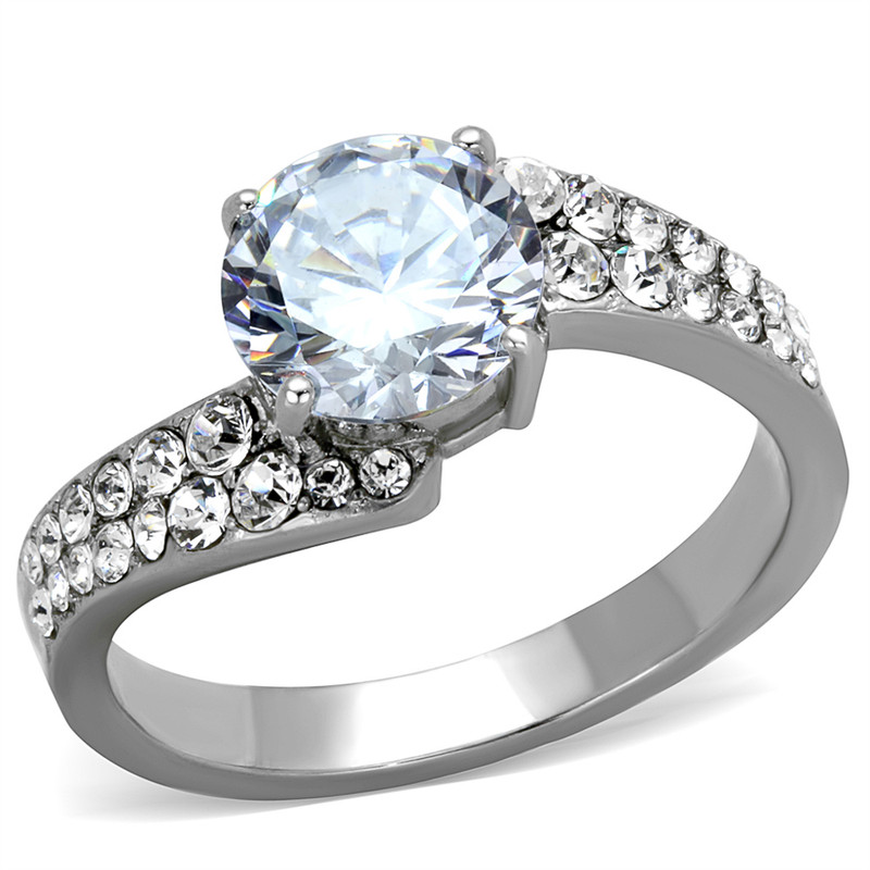 2.94Ct Round Cut Zirconia Stainless Steel Engagement Ring Band Women's Size 5-10