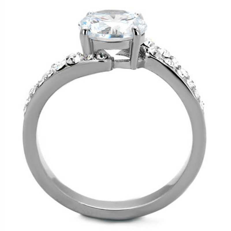 ARTK2040 Stainless Steel 2.94 Ct Round Cut Zirconia Engagement Ring Band Women's Size 5-10
