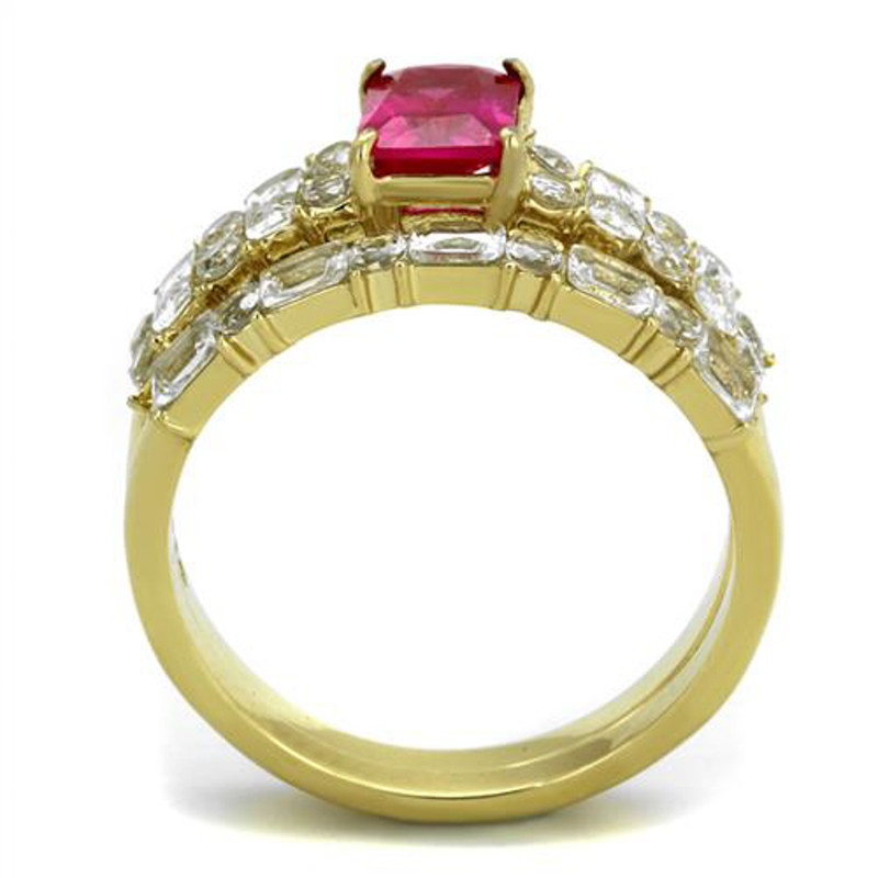 ARTK2134 Stainless Steel 2.64 Ct Emerald Cut Ruby CZ 14k Gold Plated Wedding Ring Set Women's Size 5-10