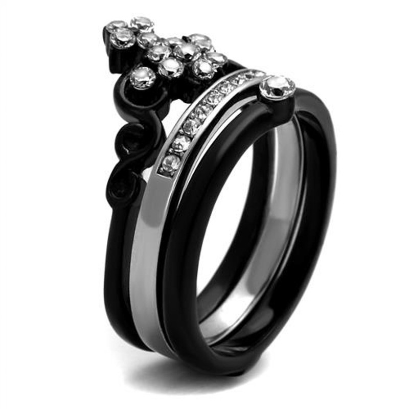 ARTK2187 Stainless Steel Women's Black Ion Plated CZ Crown Wedding Ring Band Set Size 5-10