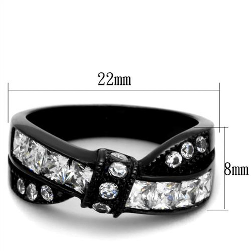 ARTK2139 Stainless Steel 1.75 Ct Clear Princess Cut Zirconia Black Fashion Ring Sz 5-10