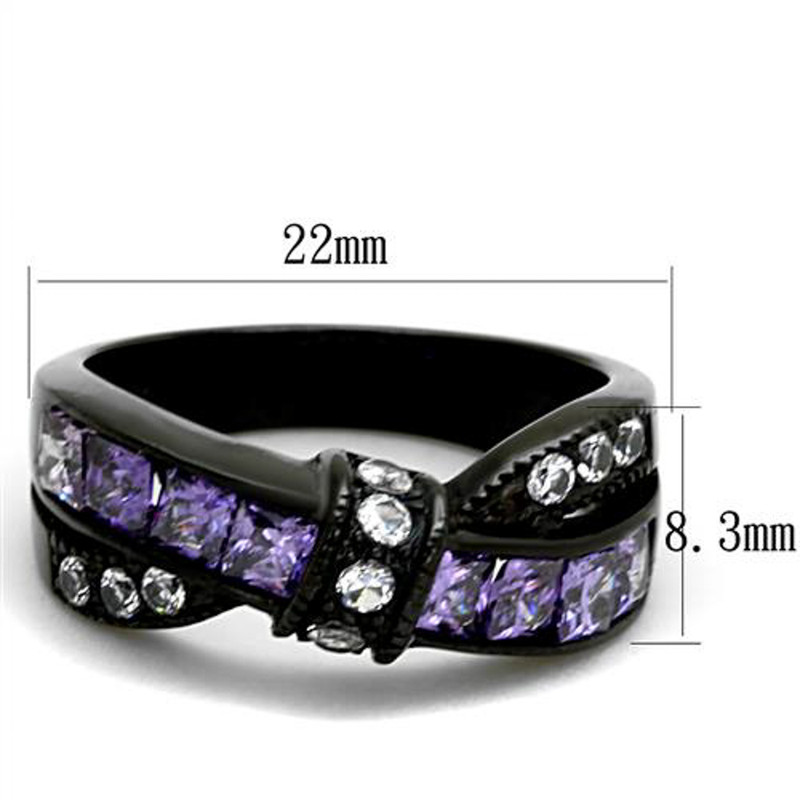 ARTK2140 Stainless Steel 1.75 Ct Amethyst & Clear Zirconia Black Fashion Ring Size 5-10
