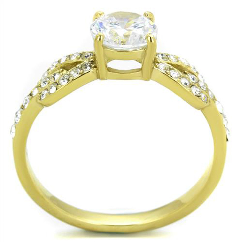 ARTK2168 Stainless Steel 1.19ct CZ 14k Gold Plated Bow Tie Engagement Ring Womens Sz 5-10